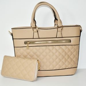 Luxie Collection Tan Quilted Handbag with Wallet
